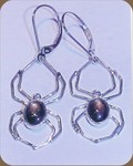 ER102 14kt white gold black star sapphire earrings