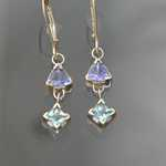 ER205 14kt white gold earrings with tanzanite and aquamarine.