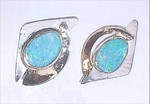 ER103 Fine silver and 14kt yellow gold with opal center stones