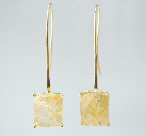 ER202 14kt yellow gold and rutilated quartz earrings