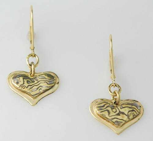 ER201 Mokume gane 14kt yellow gold earrings