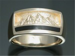 MR205 14kt yellow gold men's ring with black jade inlay.