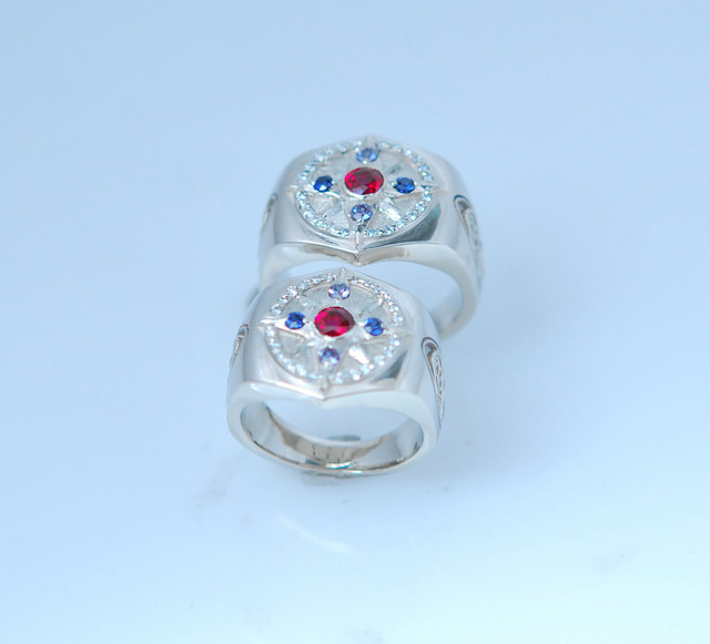 DSC 0188 14kt white gold ruby,sapphire,diamond matching wedding rings.