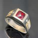 MR303 14kt yellow gold mens' ring with checkerboard cut garnet and .20cts total weight diamonds