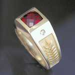 MR201 14kt yellow gold custom designed with 3ct checkerboard cut garnet