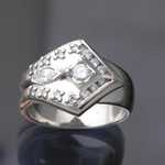 MR207 14kt white gold custom designed ring with 2.89ct tw diamonds