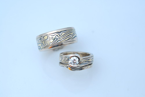 MK 1003 18kt yellow gold,14kt white gold sterling silver mokume gane wedding set with diamond.