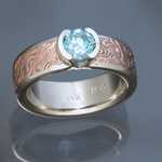 MK409 - 18kt Rose Gold with Shakudo Mokume Gane Ring. Inside, Border and Head is 14k White Gold with .75ct blue diamond