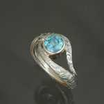 MK907 - Mokume gane 14kt palladium white gold with 1.03ct blue diamond