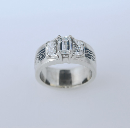 MCAD 101 14kt palladium white gold/sterling silver mokume gane with 2ct total weight diamonds.