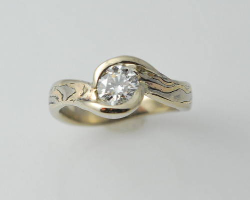 MK1004 18kt yellow gold,14kt white gold,14kt rose gold mokume gane with .50ct diamond.