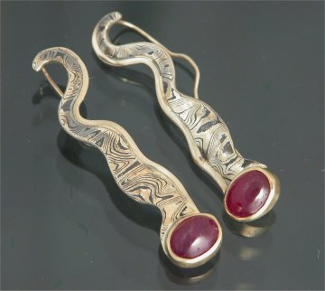 MK904 - Mokume earrings with ruby cabachon center stones