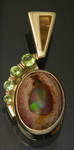 P403 14kt yellow gold custom pendant with mexican opal and peridot