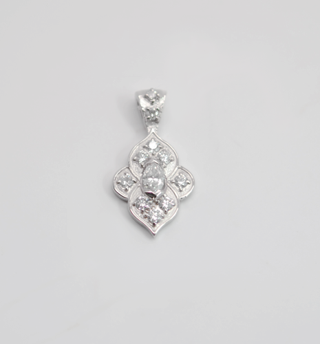 14kt white gold and .75cttw diamond pendant.