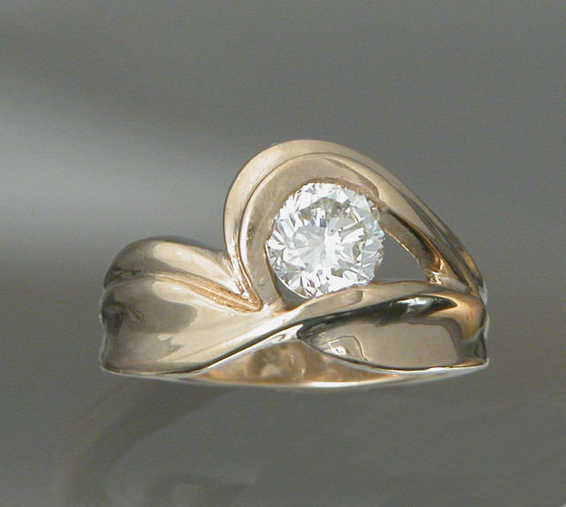 CADWS1106 18kt yellow gold ring with .75ct diamond