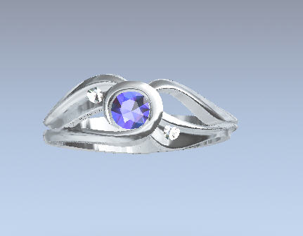 CADRD601 14kt white gold blue sapphire and diamond.