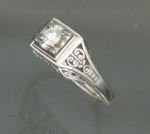 ST602 14kt white gold antique style ring with .30ct diamond.
