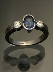 WR42 14kt white gold 1.00ct sapphire with .20cttw diamond