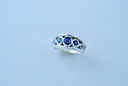 CADWR103 Palladium/silver custom design ring with 1 cttw sapphires.