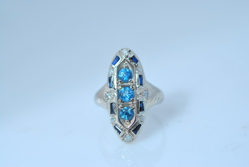 CADWR105 14kt white gold reproduction with blue zircon and sapphires.