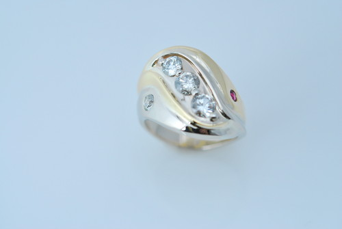 CADWR104 14kt yellow gold/14kt white gold custom designed 2-tone ring with .75cts diamonds and .10cts rubies.