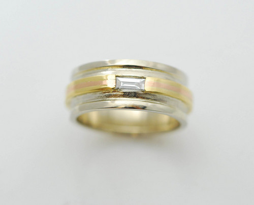 CADWR101 4kt white gold,18kt yellow gold/14kt rose gold with .15ct baguette.
