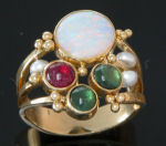 R114 18kt yellow gold design with opal,pearl,tourmaline