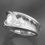 R109 14k white gold custom design ring. Deb Miller puts the customers visions to life!