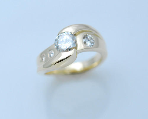 14kt white gold with diamonds.