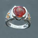 WR08 14kt white gold ring with fire opal spessartite