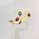 WR11 14kt yellow gold mothers ring with ruby and sapphire